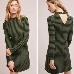 Anthropologie hutch moss green stripe dress
